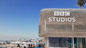 BBC Studios branded sustainable exhibition stand in Cannes France