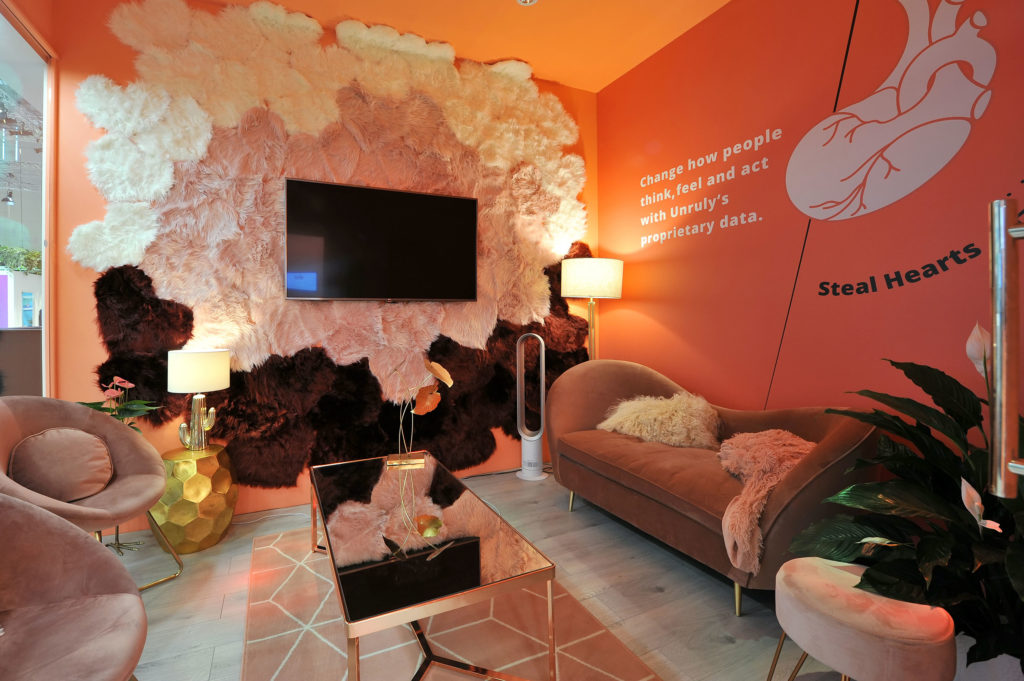 Orange sensory room at Unruly exhibition stand, Dmexco