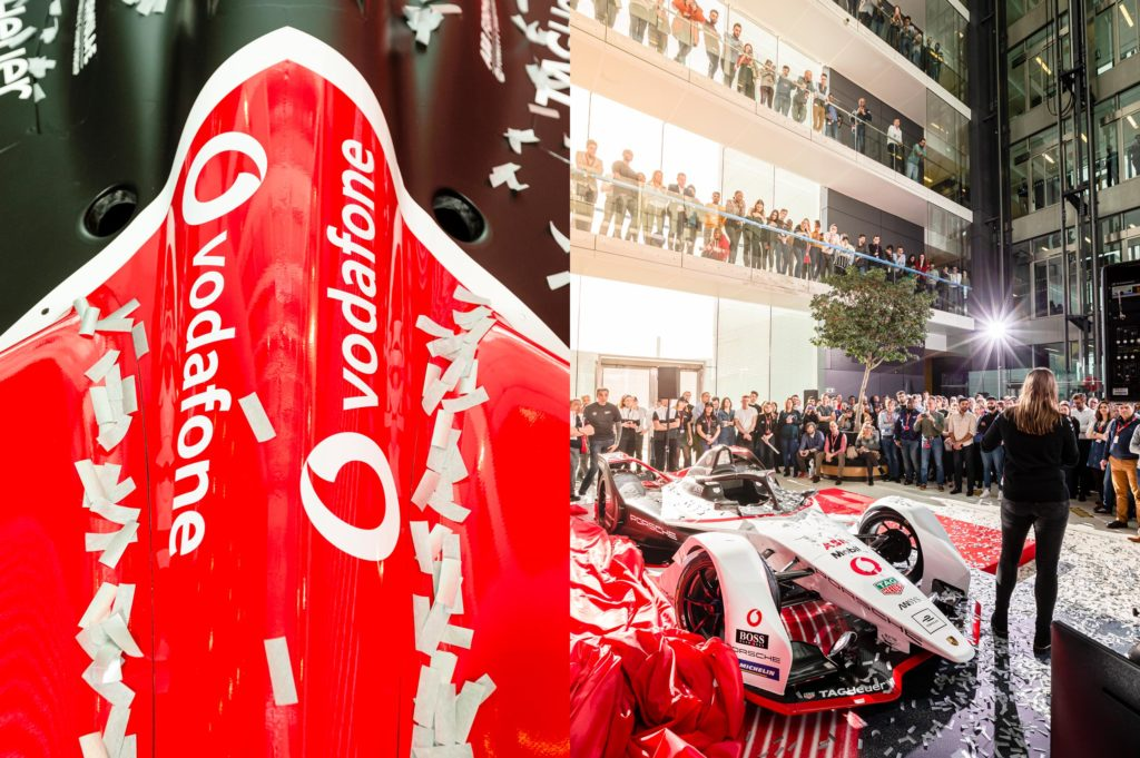 Executive committee member speaks at Vodafone and Porsche Formular E brand launch event