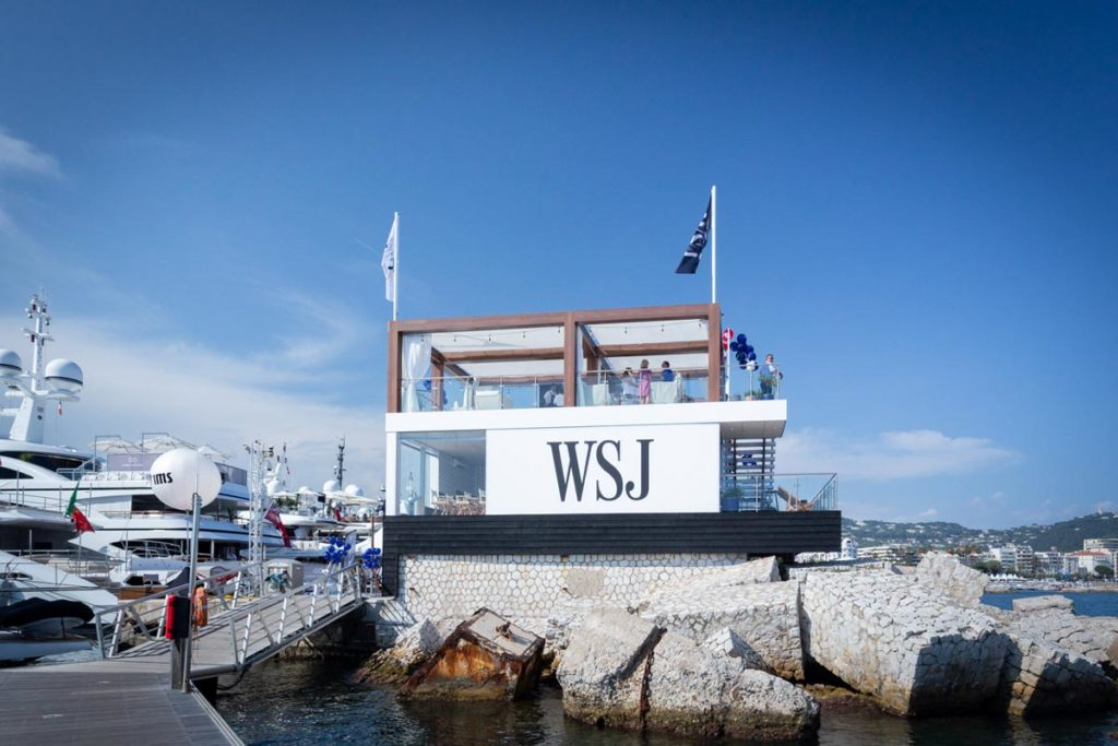 Wide shot of experiential venue Journal House at the end of Cannes Lions pier